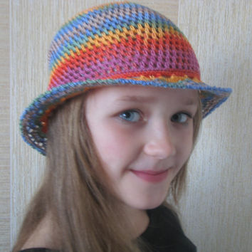 Crocheted vintage summer sun hat