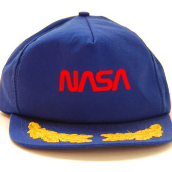 80s 90s NASA Hat / Trucker Hat / Vintage Snapback hat / Navy Blue+ Gold Custom COTTON Snapback /  Blue Snapback Cap / 1980s Hipster Summer