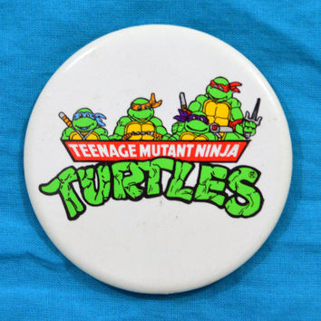 Vintage 90s Teenage Mutant Ninja Turtles Big Button Pinback Badge Pin