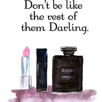 Chanel Quote  printable, print, watercolor painting, perfume bottles, makeup, fashion wall art, home room decor, bathroom poster, typography