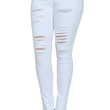 BEACH RIOT DISTRESSED SKINNIES - WHITE