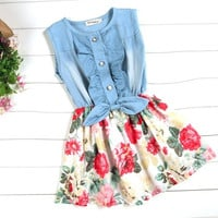 Children's Baby Girls Denim Splicing Floral Dress Sleeveless Cotton Dresses   CFC