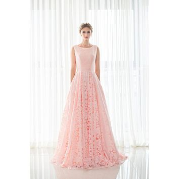 In Stock Size 2-16 As Pic Color Lace Bridesmaid Dresses Long A Line Elegant Party Gowns Lace Up Back 27522