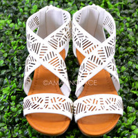 Isle of Sun White Strappy Cutout Sandal-OUT OF BOX