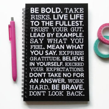 Writing journal, spiral notebook, bullet journal, black white, sketchbook, blank lined grid - Be bold, take risks, be brave, motivational