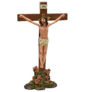"""13.5"""" Religious Inspirational """"INRI"""" Jesus on Crucifix with Roses Christmas Table Top Decoration"""