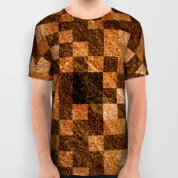 Brown Rock Pixel Pattern All Over Print Shirt by Likelikes   Society6