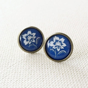 Flower Stud Earrings - Floral Jewelry - Navy Blue Earrings - Nautical Jewelry