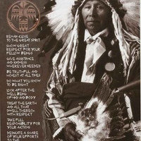 Ten Native American Indian Commandments Poster 24x36
