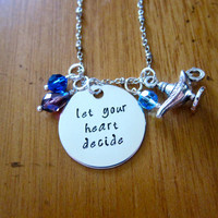 "Aladdin Inspired Necklace ""Let Your Heart Decide"" Aladdin & Princess Jasmine. A Whole New World. Hand Stamped, Swarovski crystals Magic lamp"