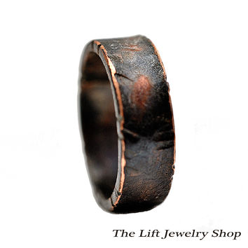 Unisex Copper Ring Band 6 mm - Light Texturing, Dark Copper Wedding Band, Copper Engagement Ring, Engraved, Simple, Casual