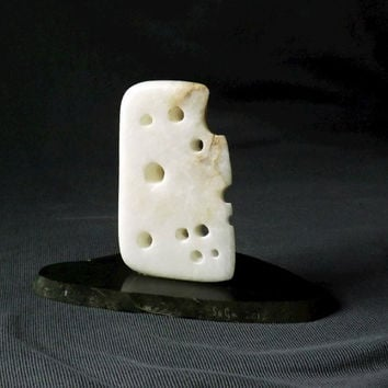 "Alabaster, miniature sculpture, ' the mice got to it',Alabaster Swiss cheese on green Slate base carving. 5"" x 3"" x 4.5"" 286 gram"