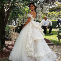 2016 Honey Qiao Wedding Dresses with Detachable Train Sweetheart Beaded Off the Shoulder Vintage Ball Gown Princess Bridal Gown
