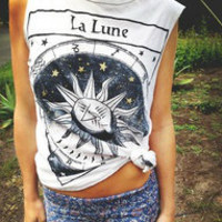 Title Unknown La Lune Foiled Muscle Tee