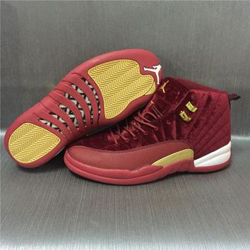 Air Jordan 12 Retro Velvet Wine Red Sport Shoes 36-47