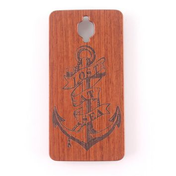 Retro Flower Carving Wood + PC Phone Case For Oneplus 3 One Plus 3 1+3 Natural Wooden Hard Case Back Cover Mobile Phone Shell