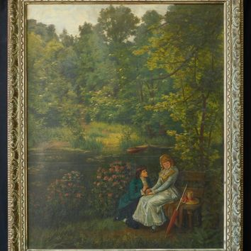 "French Listed Artist Henri Biva (1848 - 1929) Large Oil Painting ""By the Pond"""