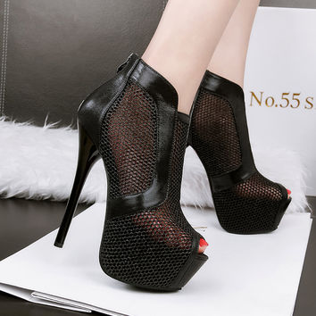 14cm Sexy Thin High Heeled Platform Shinning Nightclub Pumps PU and Mesh Decoration Zapatos Mujer Ladies Quality Shoes for Woman