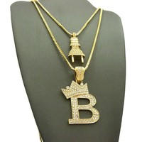 Iced Out 14K Gold Plated Electric Power Plug & King 'B' Pendant Necklace Set 04