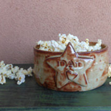 Ceramic Popcorn Bowl for Dad by Drippingglazes on Etsy