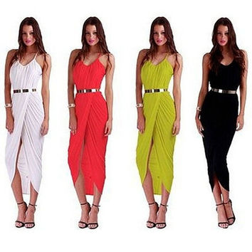 Sexy Belted Striped Beach Sarong Dress cocktail evening party dress with belt = 1704302276