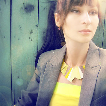 Leather Choker Bib Necklace Yellow chunky geometric jewelry, asymmetric necklace, natural leather jewelry, yellow and emerald