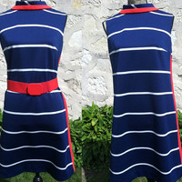 1960's Vintage Red, White & Blue stripped Shift Dress with collar