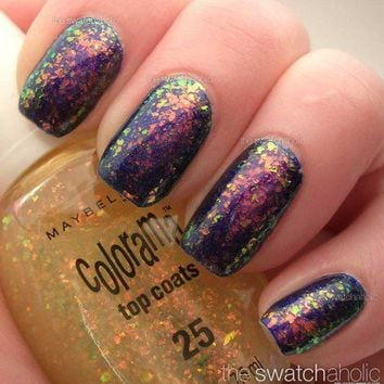 NOTD: Maybelline ? Shimmer Girl (top coat 25) over Nfu.Oh manicure | The Swatchaholic . a blog about nail polish and makeup