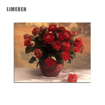 Red Rose Flower Frameless Picture On Wall Coloring By Number Acrylic Paints By Numbers For Adults Living Room Wall Art