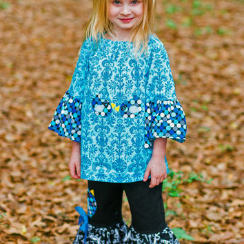 Blue Bird Girls Outfit, Ruffle Pants and Peasant Top, Little Girls Ruffle Pants, Girls Peasant Top, Sizes 2T to 8 Years Old, Girls Pant Set