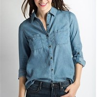 Chambray Oversized Top