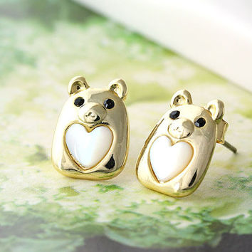 Baby Pig Earrings Animal Lovely Heart Stud Earrings Mother of Pearl Heart Gold Plated Nickel Free