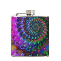 Hippy Rainbow Fractal Art Pattern Flask