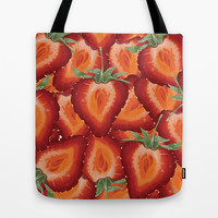 Summer Strawberries Tote Bag by Raven Krupnow