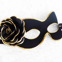 Black And Gold Masquerade Mask -  Fabric Covered Venetian Style Prom Mask With Rose Decoration