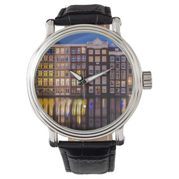 Men's Vintage Watch with a photo of Amsterdam
