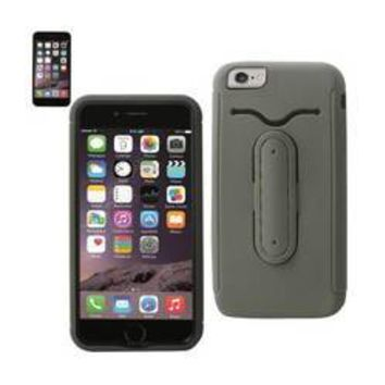 REIKO IPHONE 6 PLUS HYBRID HEAVY DUTY CASE WITH BENDING KICKSTAND IN GRAY