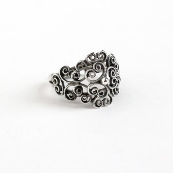 Vintage Sterling Silver Filigree Ring - Retro Beaucraft Adjustable Statement Flower Swirled Modernist Metal Work Jewelry