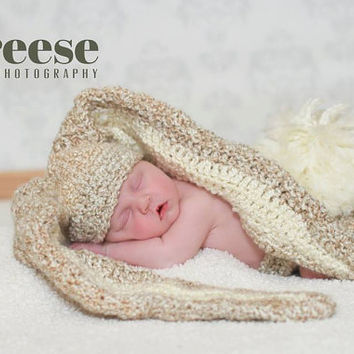 Crochet Super Soft Floppy Ears Bunny Hat and Diaper Cover Photo Prop