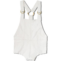 Sadie Overalls in White Leather
