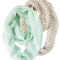 2 Pack of Soft Light Weight Zig Zag Chevron Sheer Infinity Scarf (Mint/White and Earth/White)