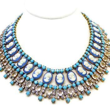 Blue Cameo and Clear Rhinestone Czech Rhinestone Bib Necklace