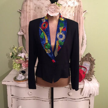 Tuxedo Beaded Jacket  Black Coat & Tails  Art Deco Formal Jacket  Bold Multi Color  High Fashion  Fit n Flare Jacket  Womens Medium/Large