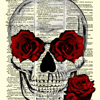 Skull and Roses Art on 1897 Dictionary Page, Skull Print, Roses Art, Halloween Decoration, Wall Decor, Halloween Party, Spooky, Romantic