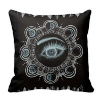 Phases of the Moon Eye Throw Pillows