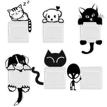 Funny Cute Cat Dog Switch Stickers Wall Stickers Home Decoration Bedroom