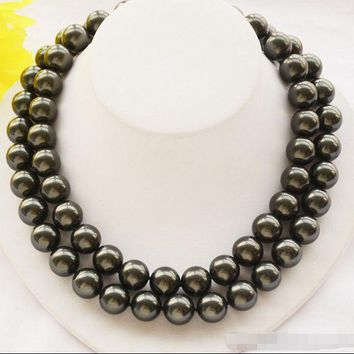 2 Strands 14Mm Tahitian Black Round South Sea Shell Pearl Necklace