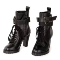 Black Buckle Strap Lace Up Heeled Boots - Choies.com