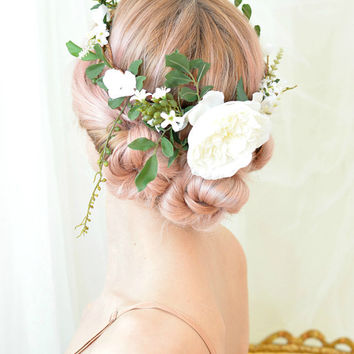 Woodland wedding crown, leaf and flower crown, white floral halo, hair wreath, circlet, hair accessory