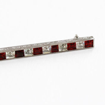 Vintage Art Deco Sterling Silver Red & Clear Rhinestone Bar Pin - 1930s Simulated Ruby Jewelry Brooch with Etched Filigree